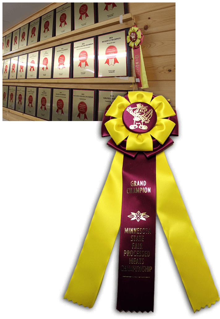 Rows of plaques, ribbons, and awards won by Miltona Meats for their custom meat products